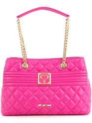 Love Moschino Quilted Logo Tote Women Polyurethane One Size Pink Purple