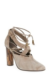 Free People Women's 'Nouvella' Lace Up Pump Taupe Suede