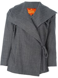 Vivienne Westwood Pinstriped Wrap Jacket Grey
