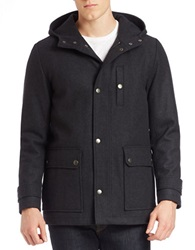 Kenneth Cole Hooded Wool Blend Coat Charcoal