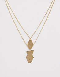 French Connection Abstract Face And Body Necklace Gold