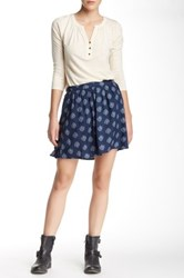 Lucky Brand Woodstamp Print Flirty Skirt Blue