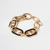 River Island Womens Gold Tone Black Chain Link Bracelet