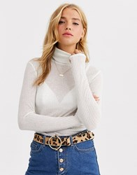 Pieces Flecked Detail Roll Neck Jersey Top Beige