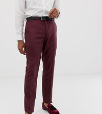 Heart And Dagger Skinny Fit Suit Trousers In Red