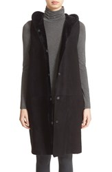 Women's Theory 'Malriz Ryder' Hooded Genuine Shearling Vest Black