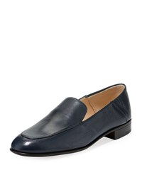 Gravati Flat Leather Smoking Loafer Blue