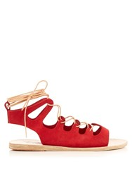 Ancient Greek Sandals Antigone Suede Lace Up Sandals Red