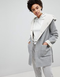 Stradivarius Contrast Faux Fur Shearling Jacket Grey