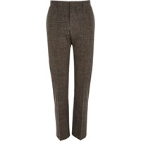 River Island Mens Brown Crosshatch Linen Blend Slim Trousers