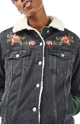 Topshop Women's Embroidered Borg Denim Jacket