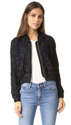 Needle And Thread Blossom Embroidery Bomber Black