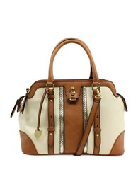 London Fog Lancaster Vegan Leather Striped Triple Satchel Ivory