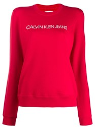 Calvin Klein Jeans Branded Sweatshirt Red