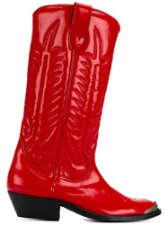 Golden Goose Deluxe Brand Patent Leather Stitched Cowboy Boots Red