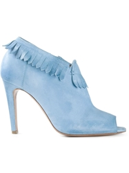 Raparo Fringed Peep Toe Booties Blue