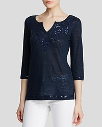 Moon And Meadow Tee Embellished Three Quarter Sleeve Navy