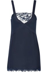La Perla Whisper Lace Trimmed Jersey And Georgette Chemise Midnight Blue