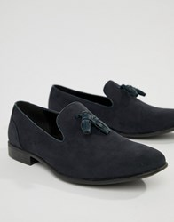 Asos Design Tassel Loafers In Navy Faux Suede