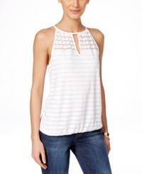 Inc International Concepts Illusion Striped Halter Top Only At Macy's Bright White