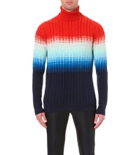 Richard James Turtleneck Degrade Knitted Jumper Orange Blue