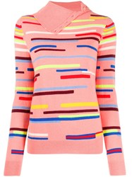 Chinti And Parker Striped Button Neck Jumper 60