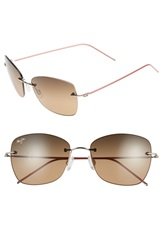 Maui Jim 'Apapane' 55Mm Polarized Rimless Sunglasses Gold With Pink Hcl Bronze