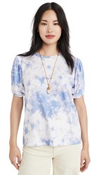 Endless Rose Twist Puff Sleeve T Shirt Blue
