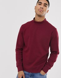 Another Influence High Neck Long Sleeve Top Red