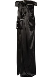 Monse Off The Shoulder Silk Satin Gown Black