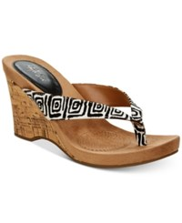 Styleandco. Style Co Chicklet Wedge Thong Sandals Created For Macy's Women's Shoes Black White