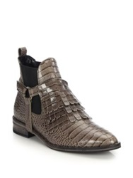 Freda Salvador Snake Embossed Leather Fringed Harness Ankle Boots Brown