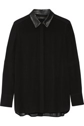 Belstaff Deyton Leather Trimmed Silk Georgette Shirt Black