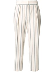 See By Chloe Cropped Trousers With Stripe Detail Women Polyester Spandex Elastane Viscose 36 Grey