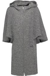 Y 3 Adidas Originals Cape Effect Cotton Hooded Mini Dress Charcoal