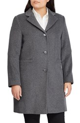 Lauren Ralph Lauren Plus Size Paige Wool Blend Reefer Coat Df Grey