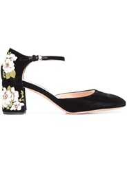 Rochas Embroidered Flower Heel Pumps Black