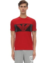 Emporio Armani Train Logo Cotton T Shirt Red
