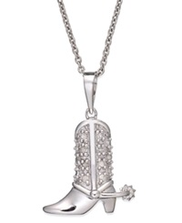 Macy's Diamond Cowboy Boot Pendant Necklace 1 10 Ct. T.W. In Sterling Silver