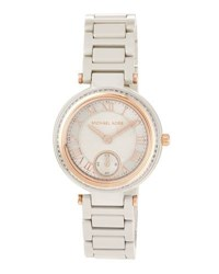 Michael Michael Kors Mini Skylar Ceramic Chronograph Watch Gray Rose Golden