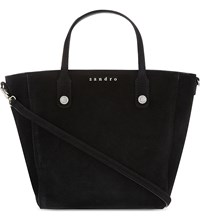 Sandro Adine Small Leather Tote Black