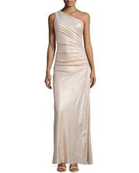 Laundry By Shelli Segal One Shoulder Ruched Gown Gold