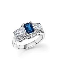 Bloomingdale's Sapphire And Diamond Baguette Ring In 14K White Gold