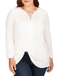 Lucky Brand Plus Plus Lace Front Long Sleeve Top White