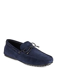 Tod's Suede Tie Moccasins Navy