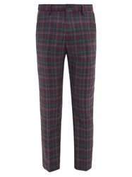 Connolly Checked Wool Trousers Purple Multi