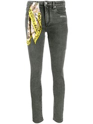 Off White Scarf Detail Skinny Jeans Grey