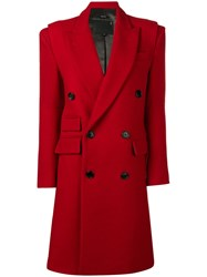 R 13 R13 Classic Double Breasted Coat Red