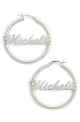 Argentovivo 'S Argento Vivo Personalized Large Hoop Earrings Silver