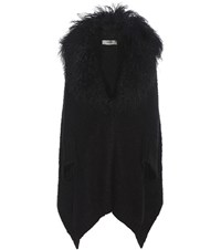 Fendi Fur Trimmed Wool Cashmere And Mohair Blend Cardigan Black